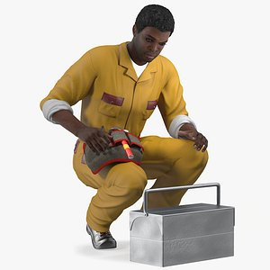 3D african american locksmith rigged male