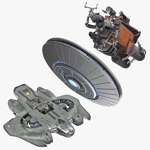 3D Sci Fi Spacecraft Rigged Collection model
