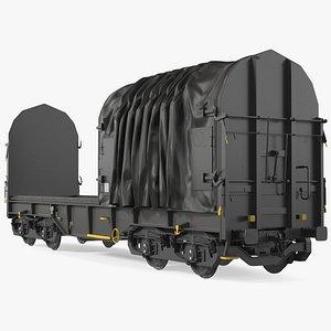 3D Tarpaulin Freight Wagon No Interior Clear model