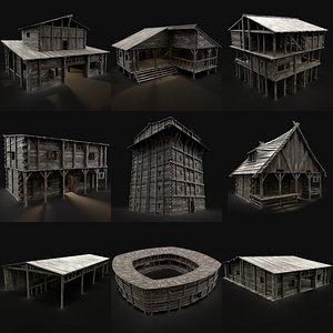 town village buildings 3D
