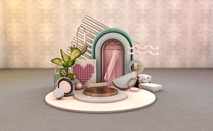 Morandi color furniture geometric objects ornaments fan girl princess bag cosmetics product demonst 3D