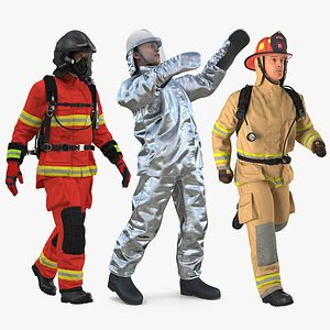 Rigged Firefighters Collection 2 for Cinema 4D model