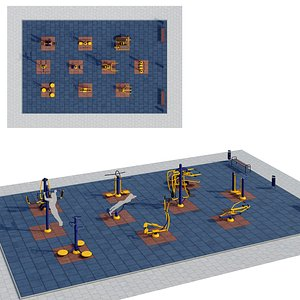 Sports ground with outdoor exercise trainers model