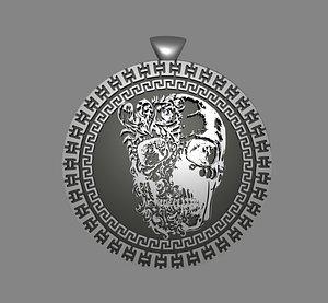 3D model skull pendant