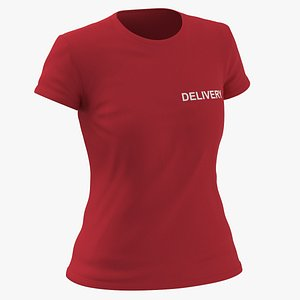 3D Female Crew Neck Worn Red Delivery 03
