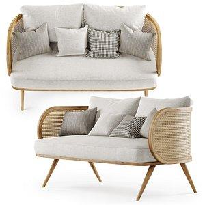 wooden double sofa 3D model
