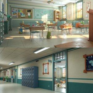 3D cartoon classroom corridor