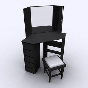 3D model Black Corner Dressing Table