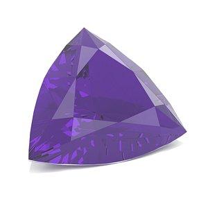 3D gem amethyst trillion model