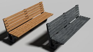 3D model bench city seating