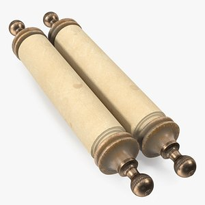 Rolled Up Paper Scroll Old 3D model