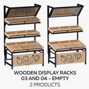 3D Wooden Display Racks 03 and 04 - Empty model