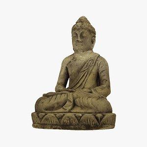 Meditating Buddha Concrete Garden Statue - Extreme Definition 3D Scanned 3D model