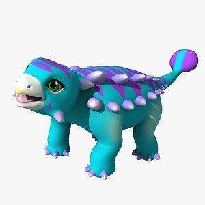 3D model ankylosaurus little dinosaurs
