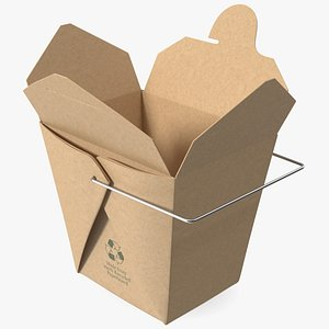 3D Kraft Paper Take Out Food Container 32 Oz Opened
