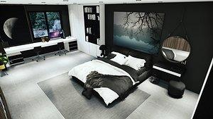 3D Mdern Bedroom and bathroom model