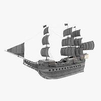 Frigate model including fully detailed interior 3D model