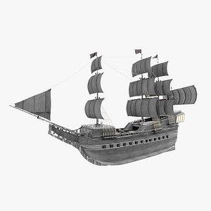 Frigate model including fully detailed interior 3D model 3D model