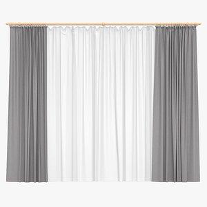 3D Double Panel Curtains 01 model