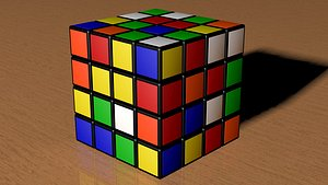 4x4 Scrambled Rubiks Cube model