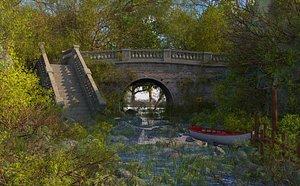 3D model landscape river nature