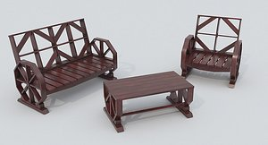 3D model Wooden Bench and Table