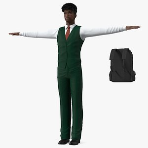 3D Black Teenager Dark Skin School Uniform Neutral Pose model