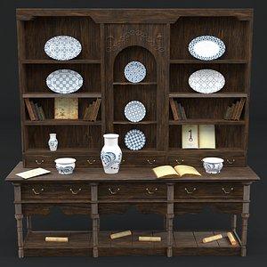 antique dresser buffet 3D model