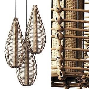 Lamp wicker branch rattan spindle 3D model