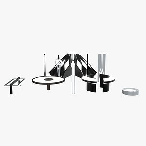 minimalistic sci-fi lamps 3D model