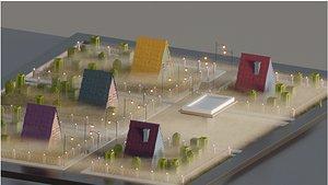 modular town area 3D model