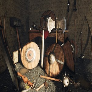 medieval weapons shield 3D model