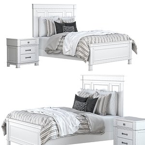 Jennily Queen Bed 3D model