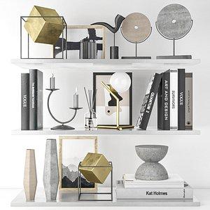 decorative set on shelves 5 3D model