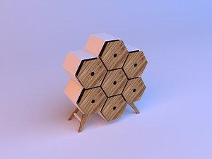 Honeycomb wood cupboard 3D