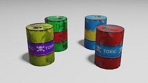 low-poly barrels 3D model
