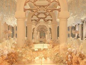 3D model Wedding hotel Wedding ceremony Wedding scene Wedding scene exhibition hall Beauty Chen layout dream