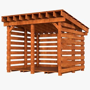wood firewood shed 3D model