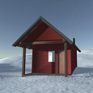 3D model Cabin in the snow
