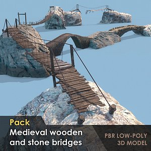 Pack of 7 medieval wooden and stone bridges Low-poly 3D model