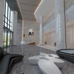 3D elevator lobby hall model