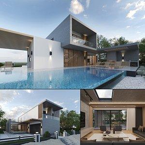 Beach Villa Exterior and Interior 3D model