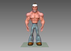 3D model man cartoon gentleman