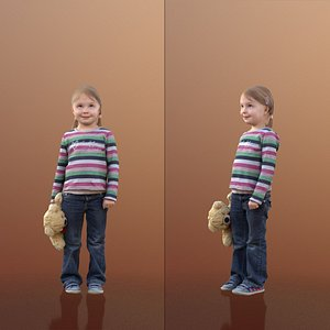 3D 10089 Lilly - Young Girl Standing With Plushy