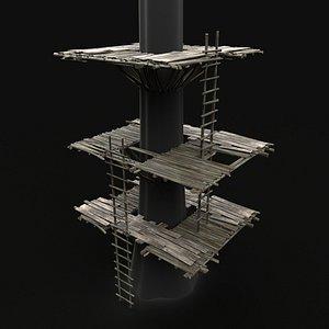 3D tree wooden platform