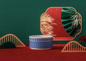3D Chinese style C4D scene display model paper-cut folding fan booth for the Spring Festival