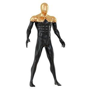 3D model faceless mannequin gold 134