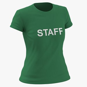 3D Female Crew Neck Worn Green Staff 03 model