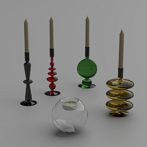 candlesticks candles colored glass 3D