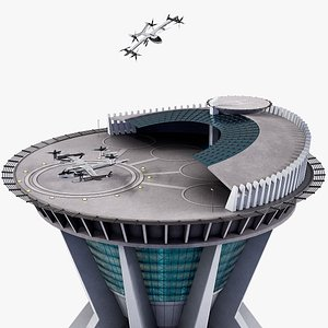 Hyundai Uber Flying Taxi Rigged With The Landing Pad Tower 3D